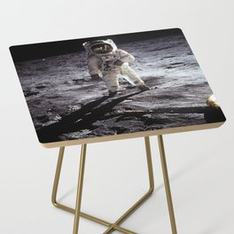 Apollo 11 - Iconic Buzz Aldrin On The Moon Side Table