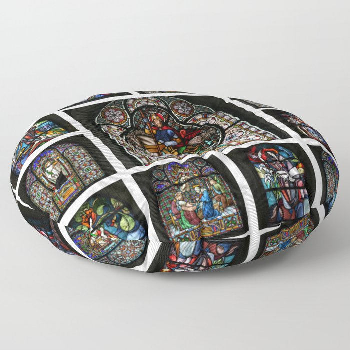 Stained Glass Windows Collage Floor Pillow by Christine aka stine1