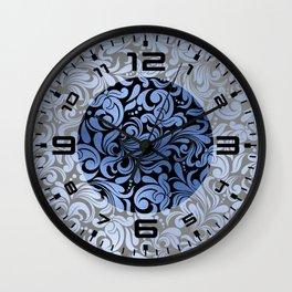 Classic Blue Swirls Damask 1 Wall Clock