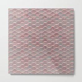 Shiny Shimmering Pink Mermaid Scale Pattern Metal Print