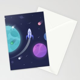 Departure (Aliens waving goodbye to a Spaceship) Stationery Cards