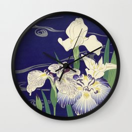 Irises byTsukioka Kôgyo Japanese Woodcut Wall Clock