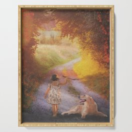 Autumn little girl with dog Serving Tray