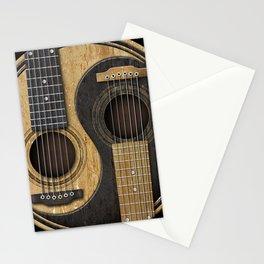 Aged Vintage Acoustic Guitars Yin Yang Stationery Cards