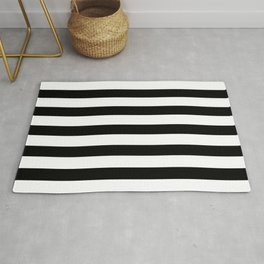 Midnight Black and White Stripes Rug