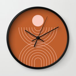 Geometric Lines in Terracotta Rose Gold 10 (Rainbow and Sun Abstraction) Wall Clock