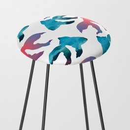 Pattern Oil Painting Abstract Tropical Fish Counter Stool