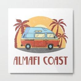 Almafi Coast  TShirt Vintage Caravan Shirt Travel Road Gift Idea Metal Print