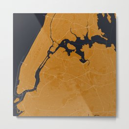 New York City Map in Blue/Orange Metal Print