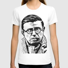 Drawing of Jean Paul Sartre by Woody Compton T-shirt
