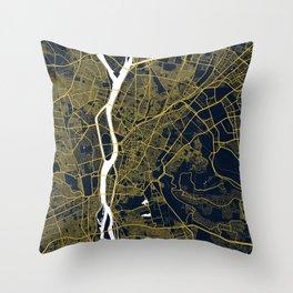 Cairo, Egypt City Map - Gold Art Deco Throw Pillow