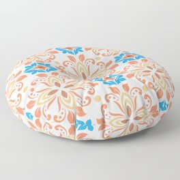 Shiny Happy Midcentury Style Pattern in Orange and Teal Floor Pillow