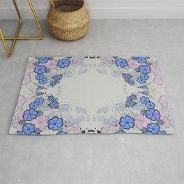 Floral frame Rug