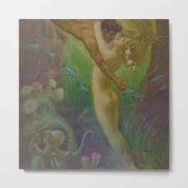 Undersea, The Mermaids Embrace by Frederic Helbing Metal Print