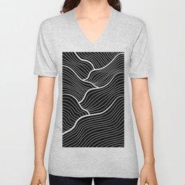 Abstract waves / black & white Unisex V-Neck
