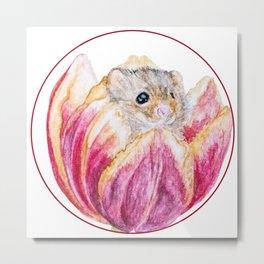 Mouse in Tulip Metal Print