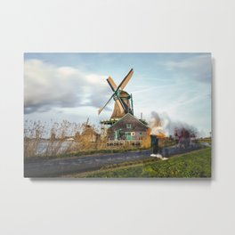 Traditional Dutch windmills at Zaanse Schans, Amsterdam, Netherland Metal Print