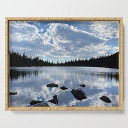 Watercolor Landscape, Two Rivers Lake 01, RMNP, Colorado Serving Tray