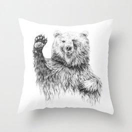 Waving Bear Throw Pillow