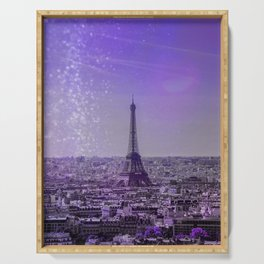 Paris Mon Amour Purple Mixed Media Art Serving Tray