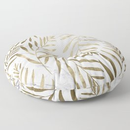 Gold and Marble Leaves Floor Pillow
