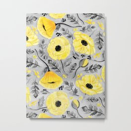 Butter Yellow Poppies on Pearl River Grey Metal Print