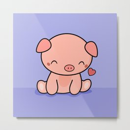 Cute Kawaii Pig With Heart Metal Print