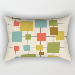 Mid-Century Modern Geometric Abstract Squares - Multi-colour Rectangular Pillow