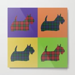 Scottie Dog - Tartan - Pop Art Style Metal Print