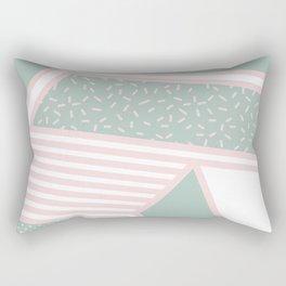 Modern Memphis Illustration - Gemetrical  Retro Art in Pink and Mint -  Mix & Match With Simplicity Rectangular Pillow