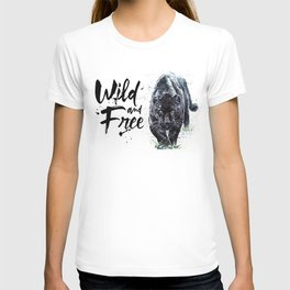 Panther watercolor painting predator animals puma jaguar wild & fre T-shirt