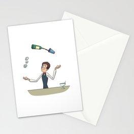 Bartender juggler bottle and cocktail Stationery Cards