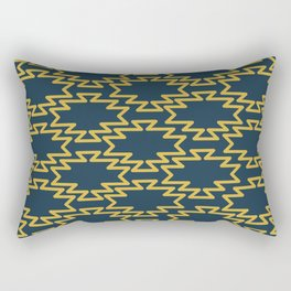 Southwest Azteca - Minimalist Geometric Pattern in Light Mustard and Navy Blue Rectangular Pillow