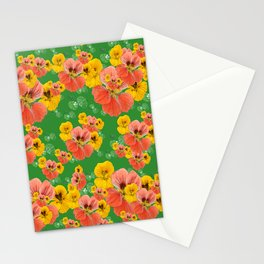 Floral pattern overload - yellow and  green Stationery Cards