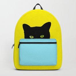 Black Hidden Cat Yellow Backpack