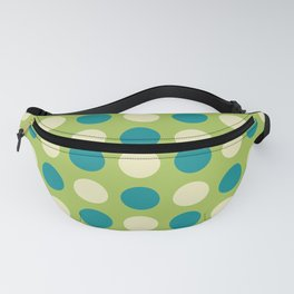 Mid Century Modern Polka Dots 927 Chartreuse Beige and Turquoise Fanny Pack