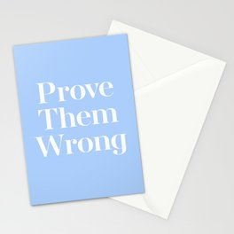 Prove Them Wrong Blue Retro Vintage Typography Quote Stationery Cards