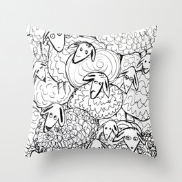 Crazy sheep Throw Pillow