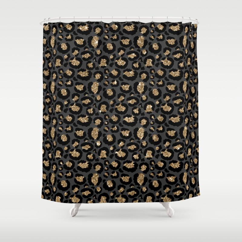 black gold leopard print pattern shower curtain by nlmiller07art