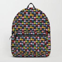 Diamond Hearts Color Black Backpack