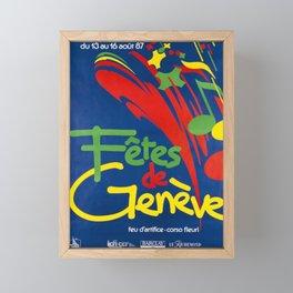 retro plakat fetes de geneve du 13 au 16 aout Framed Mini Art Print