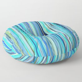 turquoise blue gold abstract striped pattern Floor Pillow