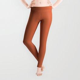 Colorblock Orange Print, Terracotta Art Decor, Monochrome Color Leggings