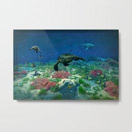 Sea turtles swim through the Mediterranean Sea Metal Print
