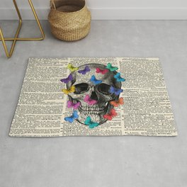 Colorful Butterflies Skull - Vintage Dictionary Art Rug
