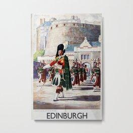 Edinburgh Vintage Travel Poster Metal Print
