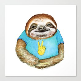 Happy Hippie Sloth Canvas Print