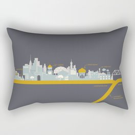 "City on a ""Plate"" (Night) Rectangular Pillow"