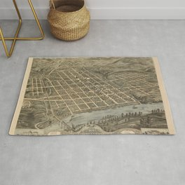 Vintage Print - Bird's Eye View of Knoxville, Tennessee, 1871 Rug