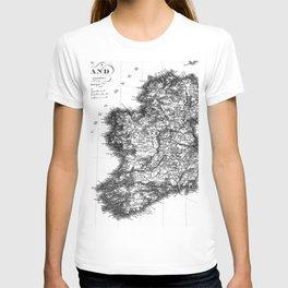 Vintage Black and White Ireland MAp T-shirt